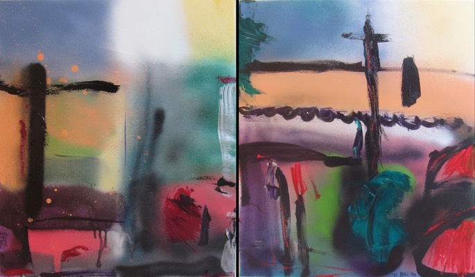 Abstract town scap  diptych